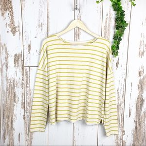 Old Navy Relaxed Ochre Yellow Striped Tee Like New